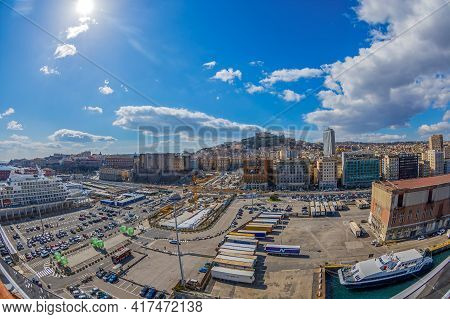 Naples, Italy - March 23, 2021: Port Of Naples With Nuovo Castle And Sant Elmo Castle In The Backgro