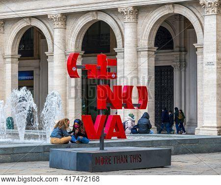 Genoa, Italy - 20 March, 2021: Logo Of Genoa Located In Piazza Raffaele De Ferrari, The Main Square