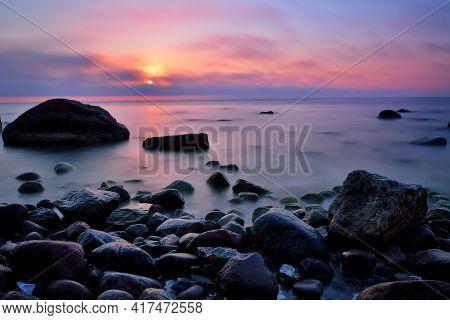 Beautiful Sunrise Sunset At Kap Arkona Baltic Sea Stones At Coastline