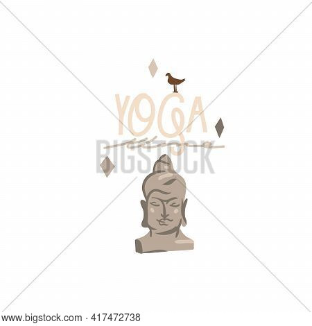 Hand Drawn Vector Abstract Stock Graphic Bohemian Clipart Illustration With Young Beauty Buddha Head