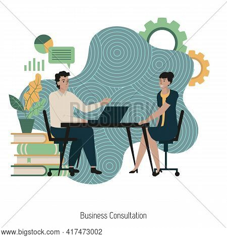 Business Consultation Concept With Characters. Business Advise Or Consultation Service. Businessman