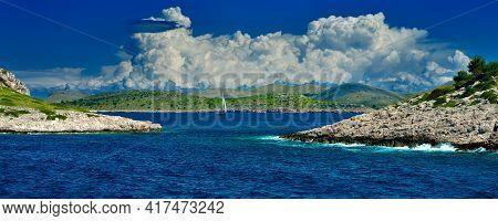 Holiday On Kornati Islands In Croatia Sailing Ship Cumulus Clouds