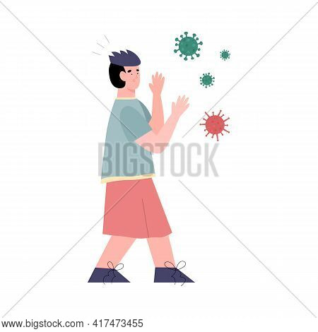 Man Afraid Of Viruses And Germs, Flat Vector Illustration Isolated On White.