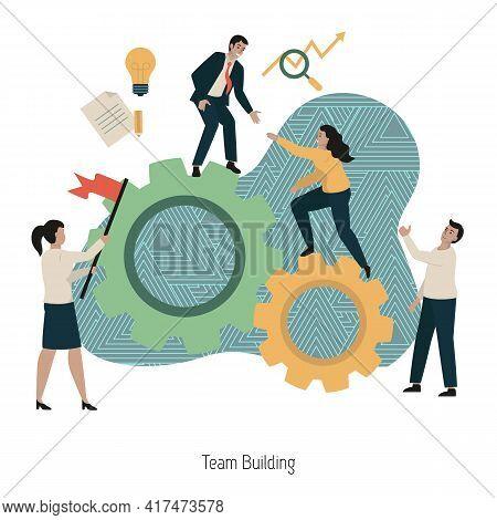 Team Building Concept. Team Work, Team Building, Corporate Organization, Partnership, Problem Solvin