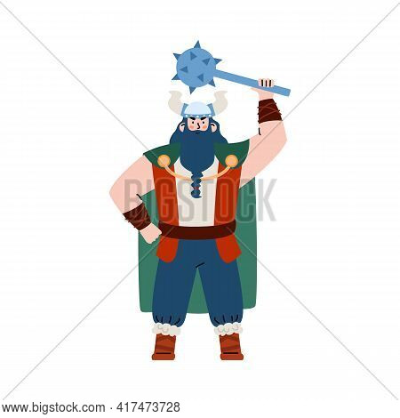 Giant Viking Warrior With Beard And Mace Flat Vector Illustration Isolated.