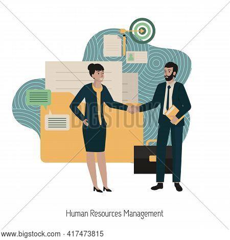 Human Resources Management Concept. Job Search And Human Resource, Recruitment Concept. Modern Vecto