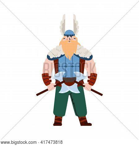 Bearded Viking Warrior In Horned Helmet Flat Vector Illustration Isolated.