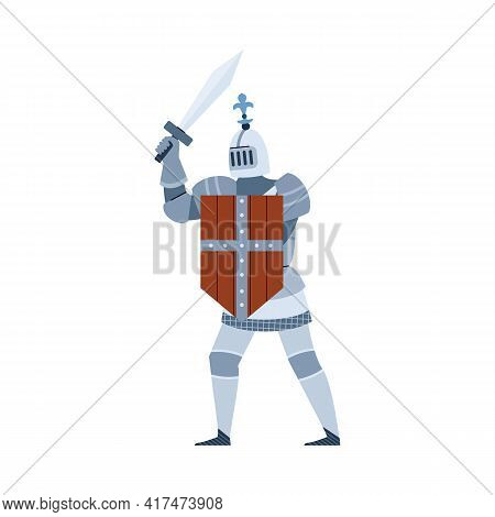 Medieval Knight Warrior In Shining Armour, Flat Vector Illustration Isolated.