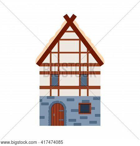Medieval European House Facade, Flat Vector Illustration Isolated On White.