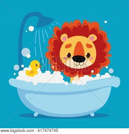 Cute Baby Lion Cub Bathes In The Bath. Vector Print For Children. Cartoon Character Animal Kids. Cle