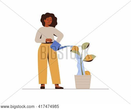 Girl Is Watering A Money Tree. Black Businesswoman Grows Plant With Coins. Green Economy And Funding