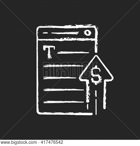 Generating Income Chalk White Icon On Black Background. Revenue From Copywriting Services. Freelance