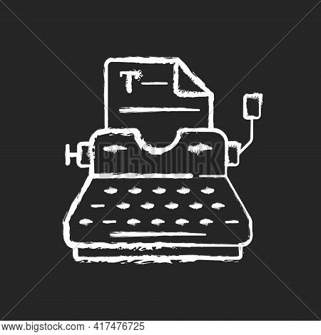 Typewriter Chalk White Icon On Black Background. Copywriting Services. Professional Journalism. Prin