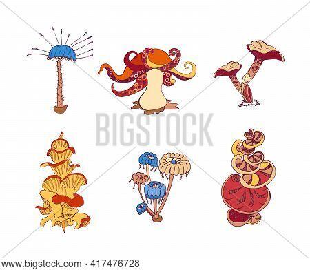 Beautiful Fantasy Mushrooms Set. Magic Mushrooms Of Various Shape, Unusual Nature Elements. Vector I