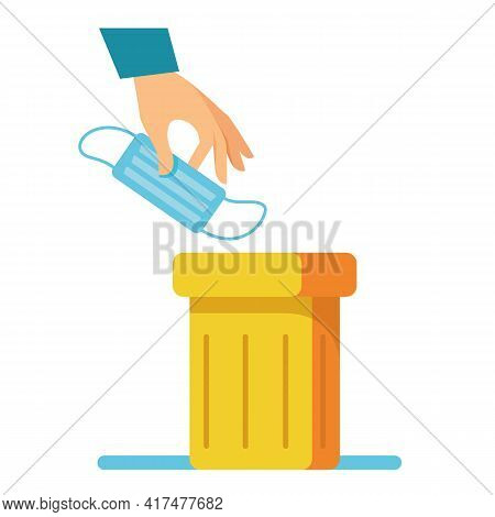 Throw The Used Mask Into The Trash Can In The Hand. Yellow Container. The Concept Of The End Of The