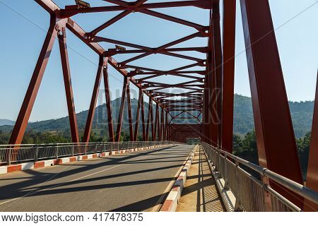 Nasak-khokhaodo Laos-netherlands Friendship Bridge. Iron Bridge Over The Mekong River. Laos