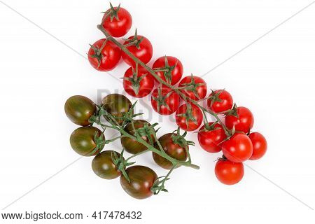 One Cluster Of Fresh Ripe Red Cherry Tomatoes And Cluster Of Brown Cherry Tomatoes Kumato On A White