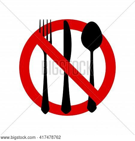 No Eating Allowed Sign. Red Prohibition No Food Sign. Do Not Eat Forbidden Round Sign. Vector Illust