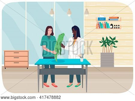 Doctor Women With Iguana In Medical Office. Veterinarian Female Character Holding Big Green Lizard