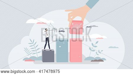Objective As Business Targets, Precise Aiming For Goal Tiny Person Concept. Successful Results And A