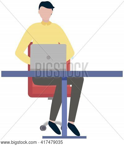Office Worker Male Character At Table With Laptop. Businessman Or Clerk Working At Office Workplace