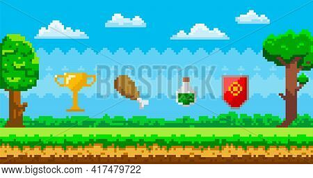 Pixel Art Game Background With Reward Object In Air. Pixel-game Scene With Grass, Trees And Awards