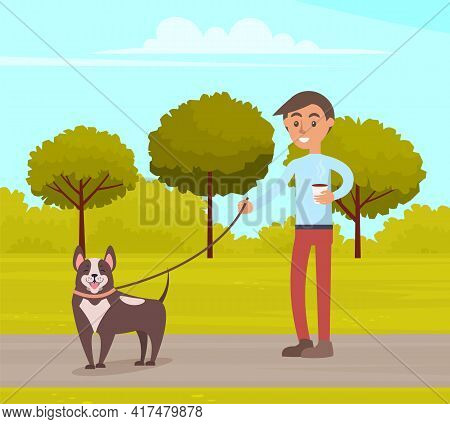 Man Is Walking With Dog In Summer Park. Guy Holds Leash And Drinks Coffee During Walk In City Garden