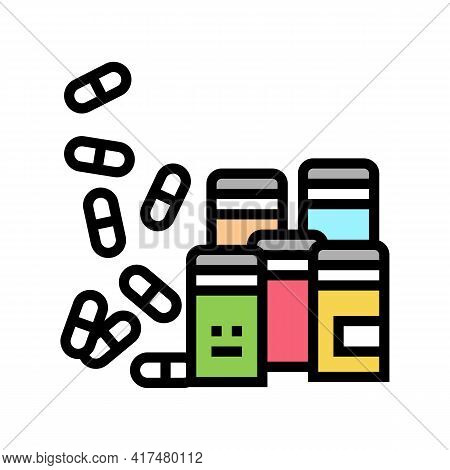 Pills Homeopathy Containers Color Icon Vector. Pills Homeopathy Containers Sign. Isolated Symbol Ill