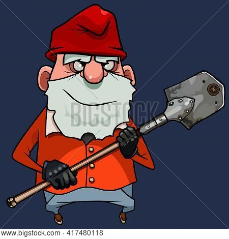 Cartoon Bearded Gnome In A Red Cap Stands With Shovel In His Hands