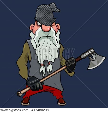 Funny Warlike Cartoon Bearded Dwarf Man Standing With An Ax In His Hands