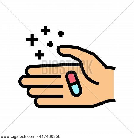 Hand Holding Homeopathy Pill Color Icon Vector. Hand Holding Homeopathy Pill Sign. Isolated Symbol I