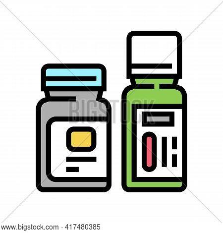 Bottles With Homeopathy Medical Drug Color Icon Vector. Bottles With Homeopathy Medical Drug Sign. I