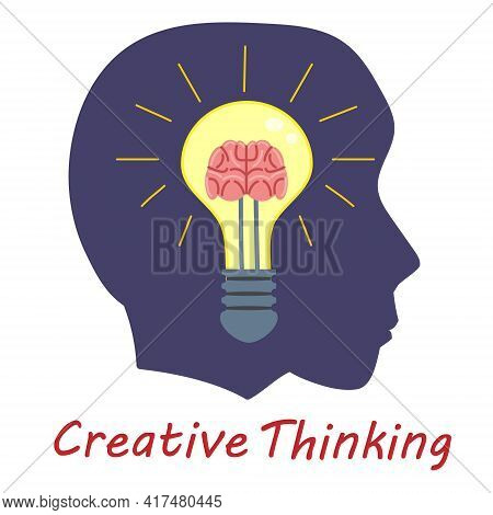 Light Bulb Creative Thinking Logo Symbol Brain Inside. Head Man, Creative Idea, Mind, Solution, Crea