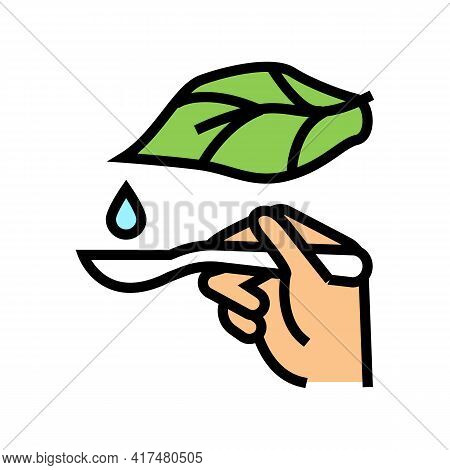 Plant Drop Homeopathy Liquid On Spoon Color Icon Vector. Plant Drop Homeopathy Liquid On Spoon Sign.