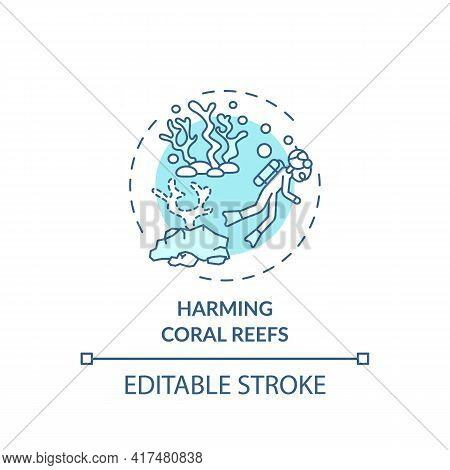 Harming Coral Reefs Concept Icon. Green Tourism Challenges. Diver Easily Destroy Under Ocean Natural
