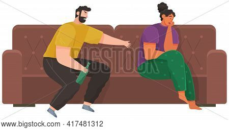 Drunk Man Scolding His Wife While Drinking Booze. Arguing, Reprimanding, Having Argument Fight