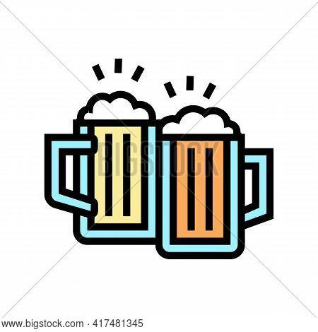 Drink Beer Mens Leisure Color Icon Vector. Drink Beer Mens Leisure Sign. Isolated Symbol Illustratio