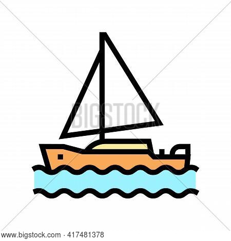 Yacht Mens Leisure Color Icon Vector. Yacht Mens Leisure Sign. Isolated Symbol Illustration