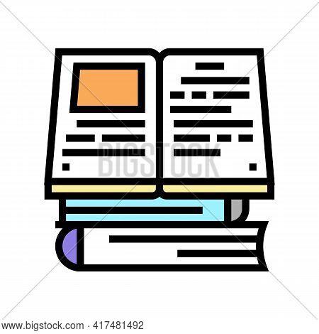 Reading Books Mens Leisure Color Icon Vector. Reading Books Mens Leisure Sign. Isolated Symbol Illus