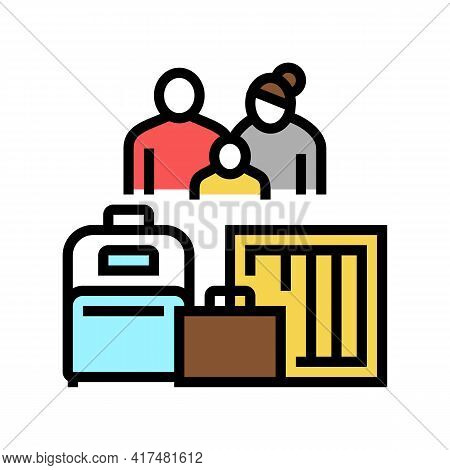 Family Refugee With Luggage Color Icon Vector. Family Refugee With Luggage Sign. Isolated Symbol Ill