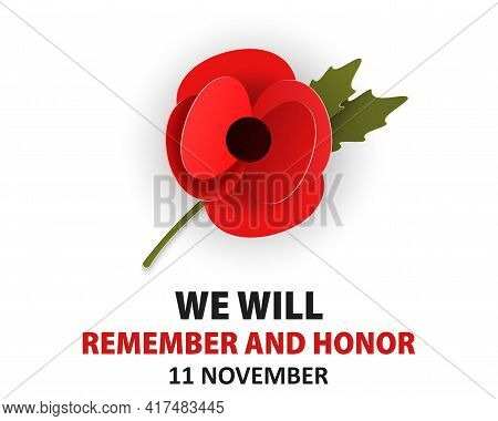 Remembrance Poppy Appeal In Paper Cut Style. Modern Origami Design Red Flower Isolated On White For