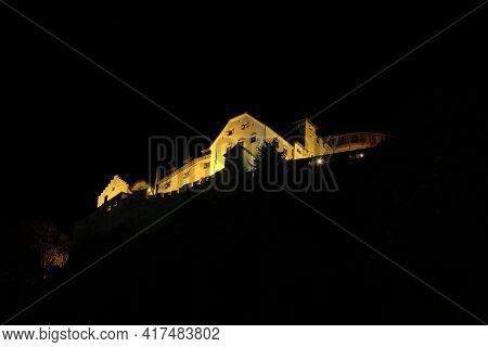 Illuminated Castle At Night In The Center Of Vaduz In Liechtenstein 31.3.2021