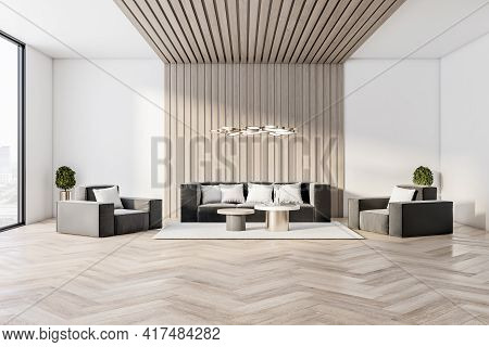 Modern Luxury Living Room Interior Design, With Large Window, White Walls And Wooden Floor And Sofa.