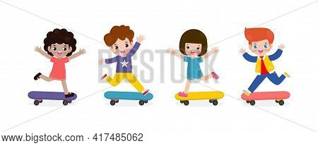 Group Of Kids Riding On Skateboards, Happy Teenage Boys And Girls Playing Skateboarders, Young Hipst