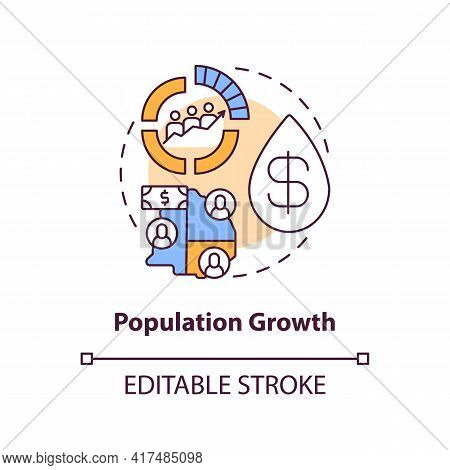 Population Growth Concept Icon. Oil Price Idea Thin Line Illustration. Increasing In Fuel Endowment.