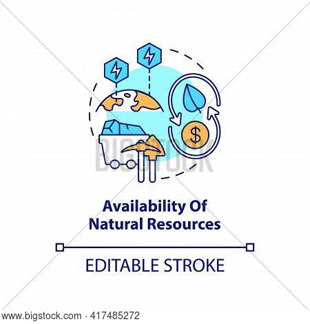 Natural Resources Availability Concept Icon. Energy Security Component Idea Thin Line Illustration.