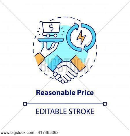 Reasonable Price Concept Icon. Energy Security Component Idea Thin Line Illustration. Stimulating Gl
