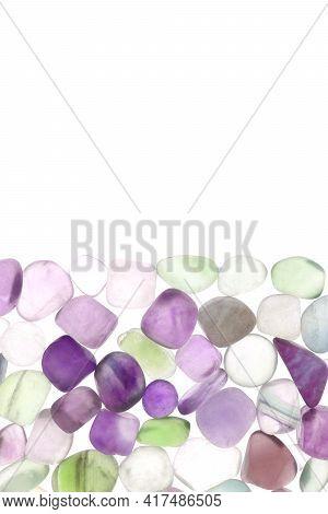 Fluorite Heap Jewel Stones Texture On Half White Light Isolated Background
