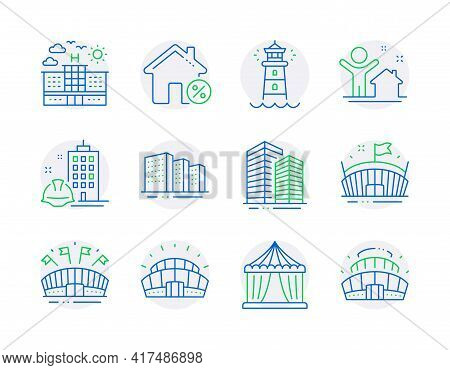 Buildings Icons Set. Included Icon As New House, Lighthouse, Arena Signs. Buildings, Sports Arena, S