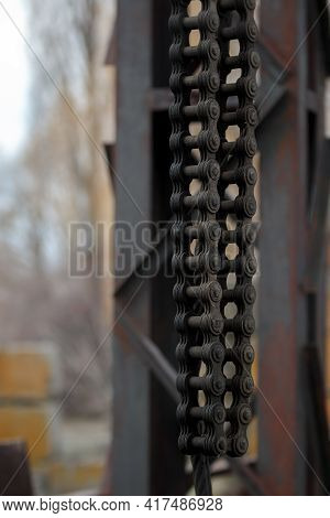 Abstract Chain Closeup, Heavy Metal Construction. Old Crane Strong Chains In Marine Dock. Industrial